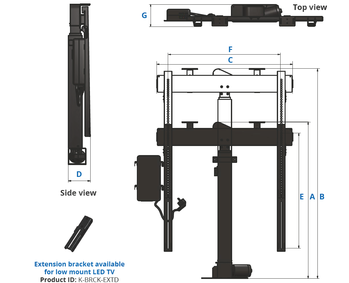 motorized tv lift wit swivel rotolift sabaj system dimensions