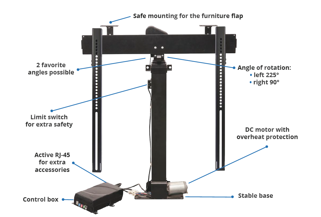 motorized tv lift wit swivel rotolift sabaj system